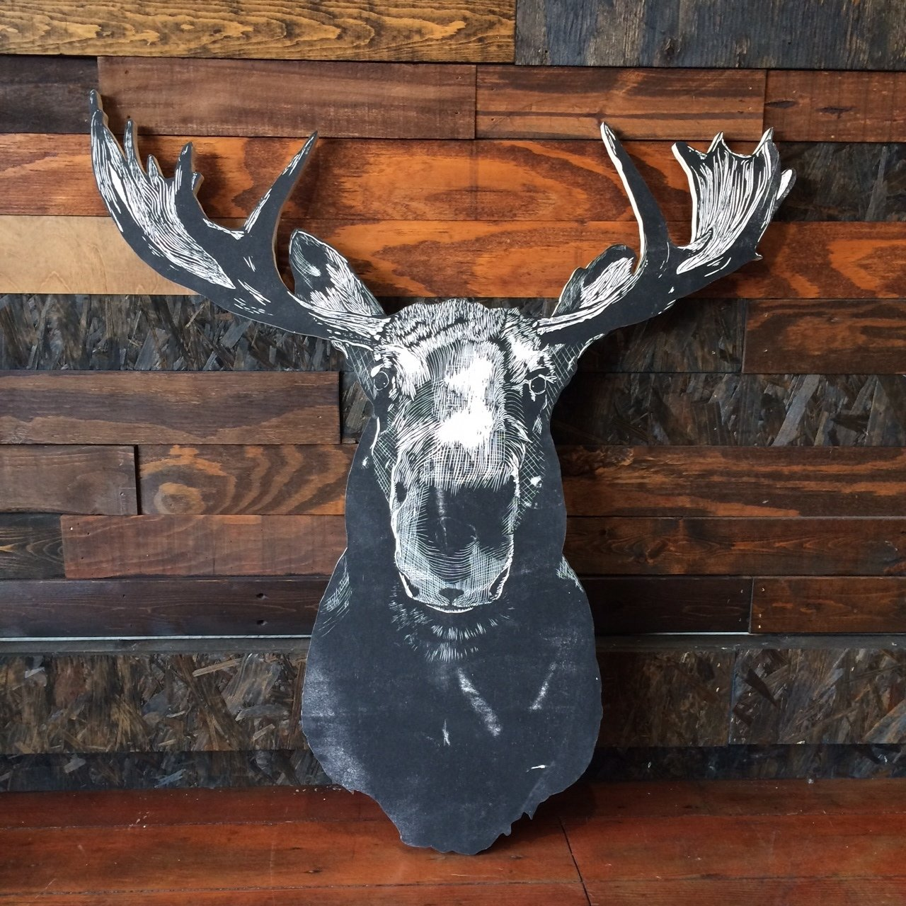 Moose Wall Plaque  A local artist makes a series of wooden animal plaques, including bears, which add a fun update to the trophy head trend.  Photo 9 of 10 in Shops We Love: A&G Merch