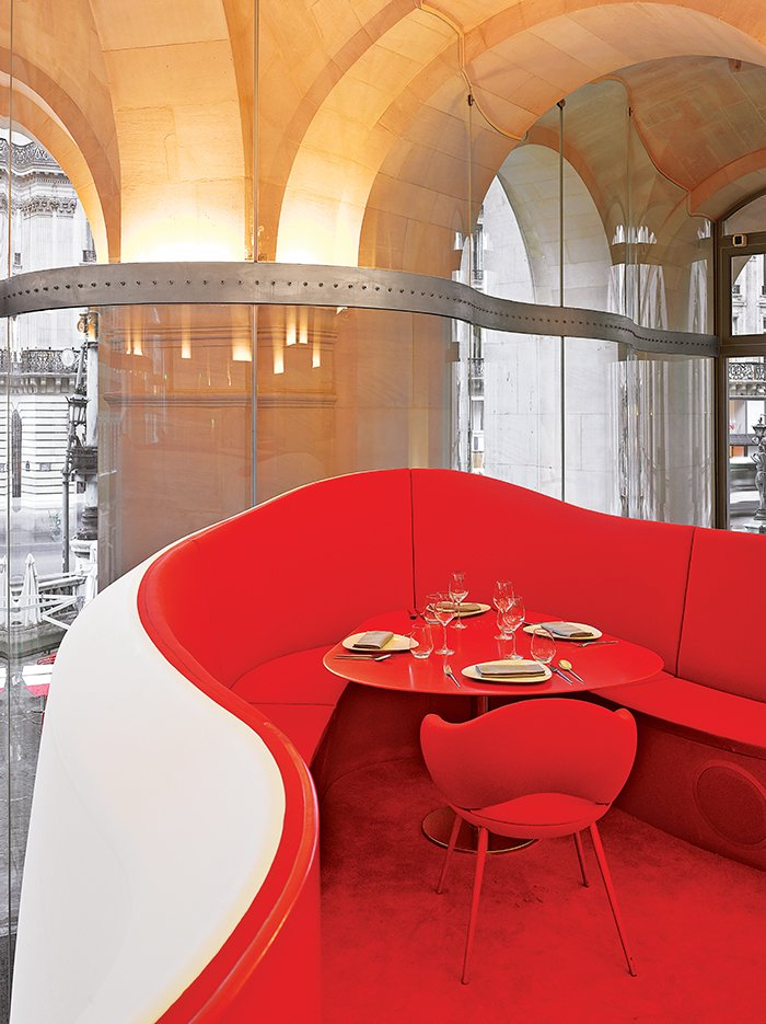 Architect Odile Decq's array of projects includes the Phantom restaurant, located inside the Palais Garnier, built in 1875 to house the Paris Opera.  Hospitality Favorites from French Architect Odile Decq Designs Captivating Museums, Yachts, and Fruit Bowls