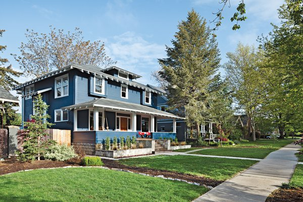 The front of the 1910 house belies the modern extension architects Doug   Skidmore and Heidi Beebe created to   extend the family's living space.