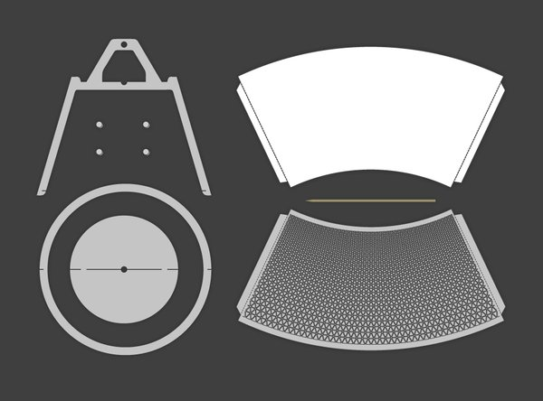 Rendering of the different pieces of the lamp.