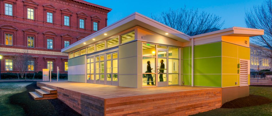 Generous daylight, which has been proven to increase student test scores and teacher retention rates, is achieved through the expansive clerestory windows and glass doors. The classroom encourages outdoor learning through its exterior teaching walls with marker boards that are built into the façade of the building.  Photo 2 of 5 in Sprout Space Green Classroom