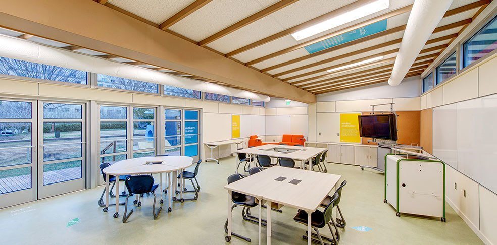 Students spend over 85% of the day inside. Sprout Space provides abundant natural daylight and easy access to the outdoors. The building materials in Sprout Space have been carefully selected to prevent off-gassing and create the healthiest indoor air quality possible.  Photo 3 of 5 in Sprout Space Green Classroom