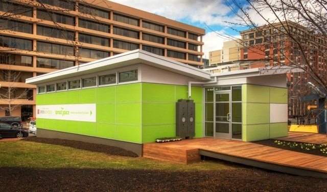 The roof shape was designed to capture rainwater that can be funneled into cisterns located on the sides of each unit and used by students to irrigate the education gardens.  Photo 4 of 5 in Sprout Space Green Classroom