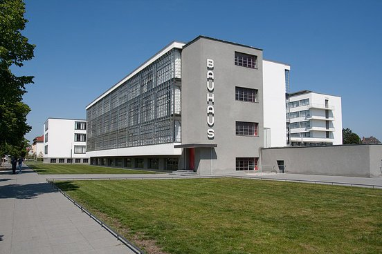Although initially established in the German town of Weimar, the Bauhaus relocated to the industrial city of Dessau. This building, constructed by Staatliches Bauhaus founder and director Walter Gropius, was the second home of the renowned school.