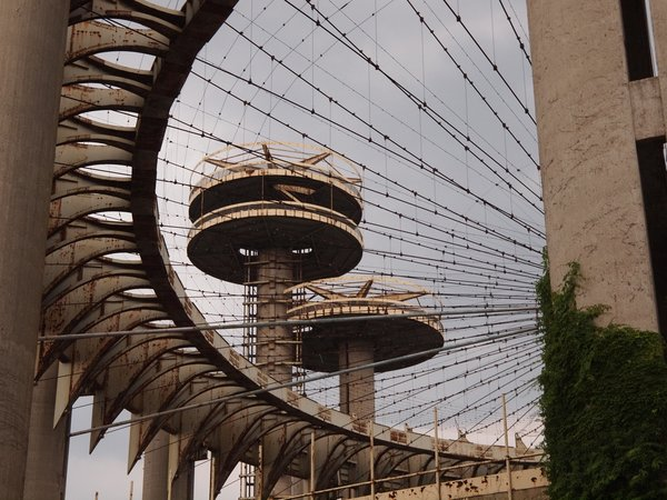 New York Pavilion 1964 World's Fair  The structure, designed by Philip Johnson, is now a rusted relic.