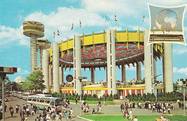 """New York Pavilion 1964 World's Fair  The massive ring of steel and reinforced concrete piers, dubbed the """"Tent of Tomorrow,"""" once held a cable suspension roof and was clad in a terrazzo floor featuring a Texaco highway map of the state. It was a platform for New York, and homegrown companies like Kodak and CorningWare, to show off to the world, and as critic Louise Huxtable said, """"a sophisticated frivolity…seriously and beautifully constructed … a 'carnival' with class."""""""