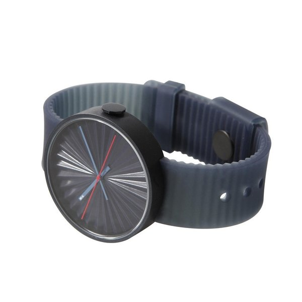 The Plicate Analog Watch from Nava Design is an inspired wristwatch, modeled after the pleats found in folder paper fans. A monochrome design, the watch strap is modeled after the watch case not only in color, but also in the pleated design. This thoughtful detail in the watch strap allows air to flow between the band and the arm of the wearer, which keeps the watch comfortable and prevents dirt from building up.