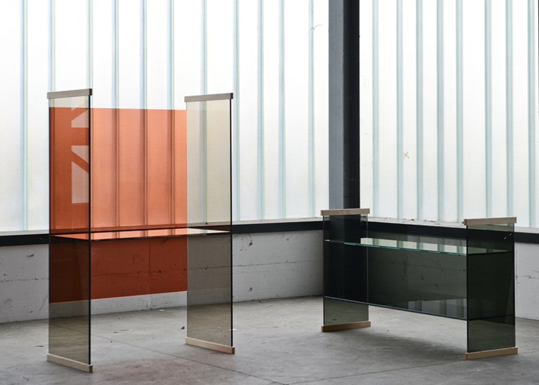 """Glass furniture from the Diapositive collection by Ronan and Erwan Bouroullec for Glas Italia. See it at Salone in Hall 16, Stand C23-018.  Search """"11plus world desk clock"""" from 2014 Salone del Mobile Furniture Preview"""