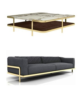 Odilon coffee table and sofa by Marco Corti for NUBE. See it at Salone in Hall 7, Stand C27.