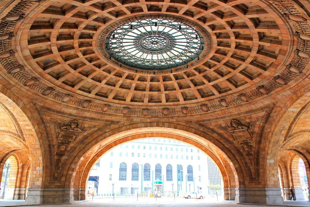 """Pennsylvanian Rotunda at Union Station  Pittsburgh's Union Station features a grand circular dome that was designed by Daniel Burnham at the turn of the twentieth century. Moss calls it his """"favorite space in the city."""" Photo courtesy of Civil Arts Project.  Search """"arch support"""" from City Guide: 8 Places to Visit in Pittsburgh"""