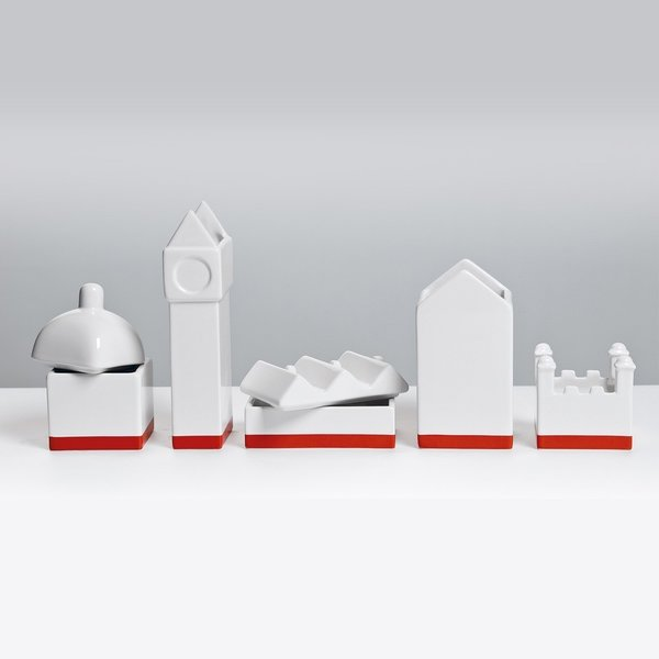 The Deskstructure series from Seletti is a clever take on desktop storage. Crafted in fine porcelain, this organizer celebrates the familiar scene of a cityscape, and ha room for pens and pencils, paperclips and tacks, and other small desk items that need organization on a desk. Fans of architecture can create their own graphic display, or spread the buildings out in an office space for a distinct look.  Also available in ship and warehouse structures.