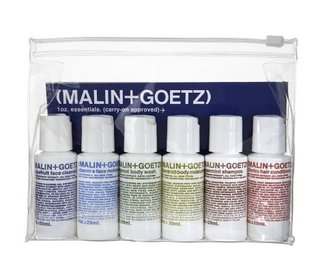 New York apothecary Malin + Goetz has gathered together cosmetic essentials that will keep you fresh and clean through long stays away from home. Their 1 oz. Carry-On Approved Essentials Kit includes face and body cleansers and moisturizers.