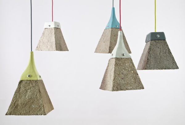 Pulpites Lamps  Made from shredded and recycled cardboard but fashioned like a piece of wet clay, the Pulpites lamp serves as an object lesson in paper's potential to not only record ideas, but also to become the raw material of good design.  Photos courtesy of Dear Human.