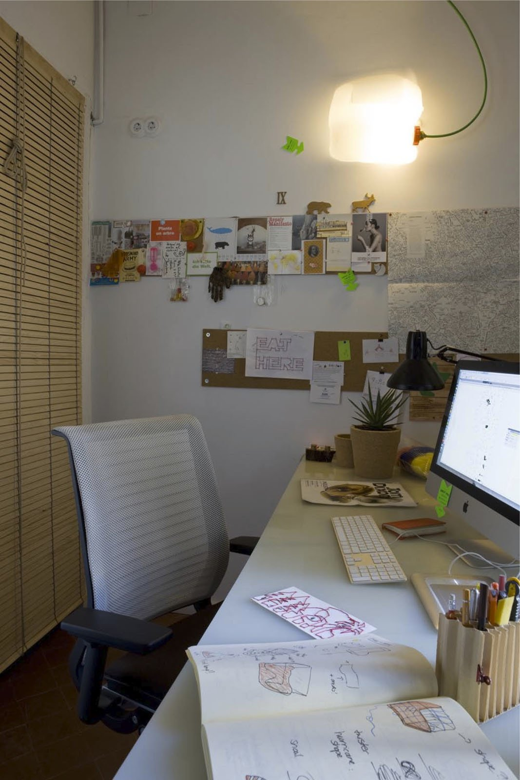"""In the office, Steelcase's """"Think"""" chair is what Scholtus calls """"a masterpiece of cradle-to-cradle design—fully recyclable and very comfortable."""" The desktop is a large piece of salvaged plastic.  Photo 10 of 14 in Green Living in Barcelona"""