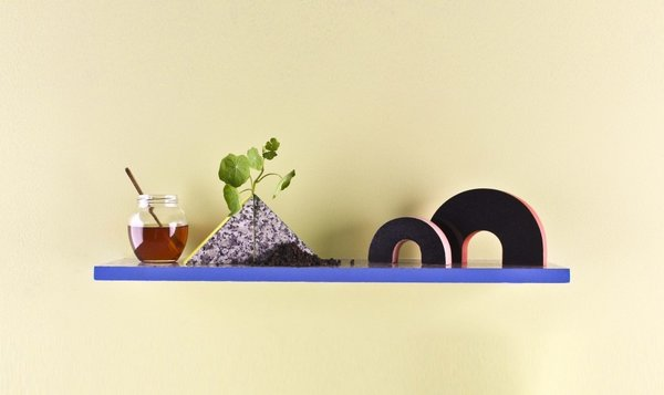Vera & Kyte's set of shelves, exhibited at 2013 London Design Festival, resemble a small postmodern landscape. Photo courtesy of Vera & Kyte.