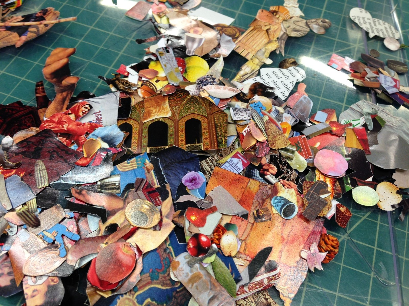 Clippings piled up in the cutting room in Yellin's studio.  Photo 4 of 6 in Glass Sculptures Use Magazines as Art