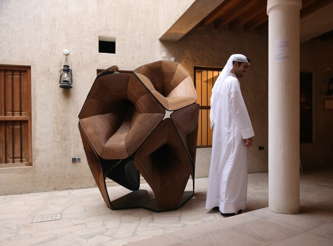 Resonant Surface 01 by Christine Yogiaman and Ken Tracy  Stacked like a cubist version of a custom phonograph, Resonant Surface 01 debuted at in this Dubai courtyard in March during the Sikka 2014 art fair. Both teach architecture at the American University of Sharjah, the emirate next to Dubai, and have become engrossed with Islamic design.  Photo by Juan Roldan  Photo 2 of 4 in Soundsystem Built to Look Like a Cubist Minaret
