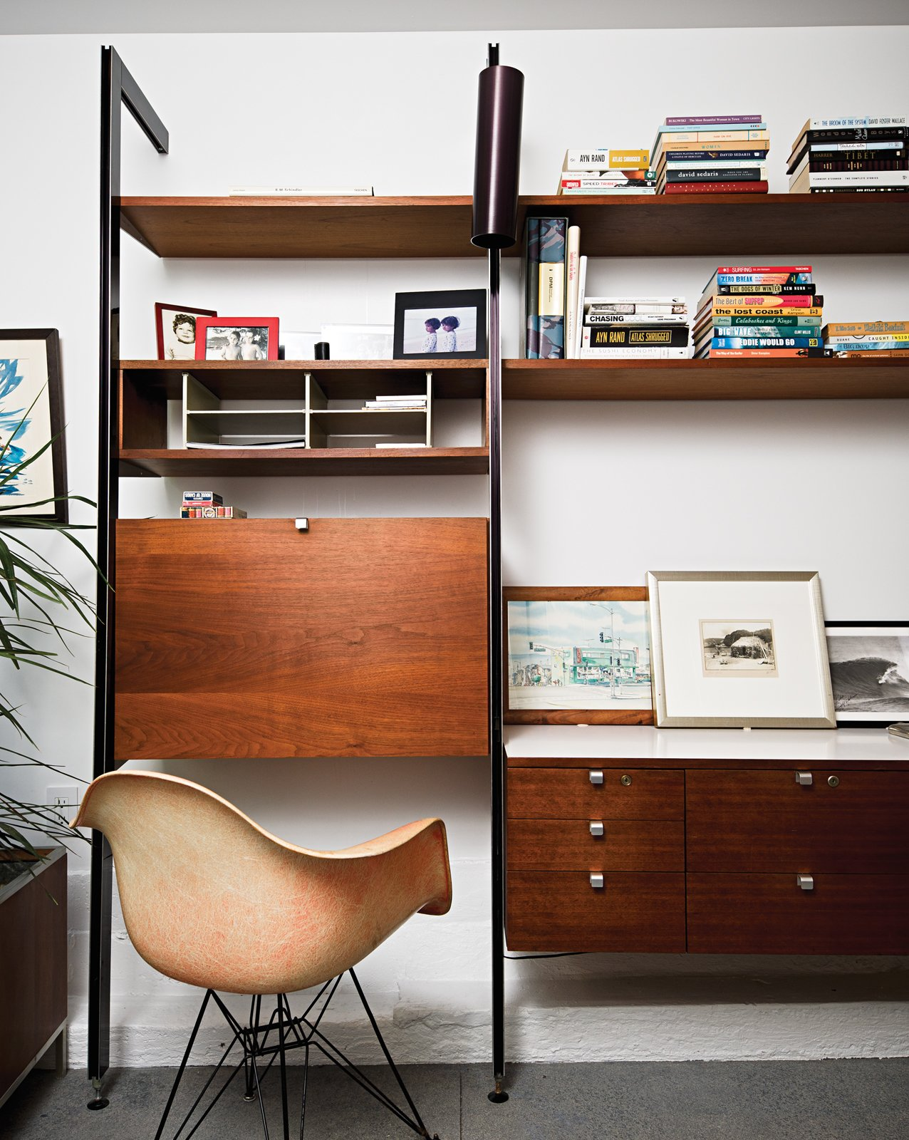 Office, Bookcase, Desk, Shelves, and Chair An original Eames shell chair manufactured in Gardena, California, before production moved to Michigan.  Photo 8 of 18 in Less is More in this Manhattan Beach Bungalow