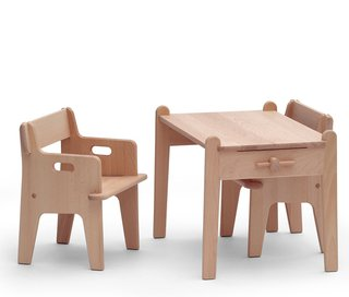 Four easily assembled pieces of wood join together to create Hans J. Wegner's timeless 1944 Peter's Table and Chair set. In maple or in beech wood, this furniture set can withstand life's knocks.