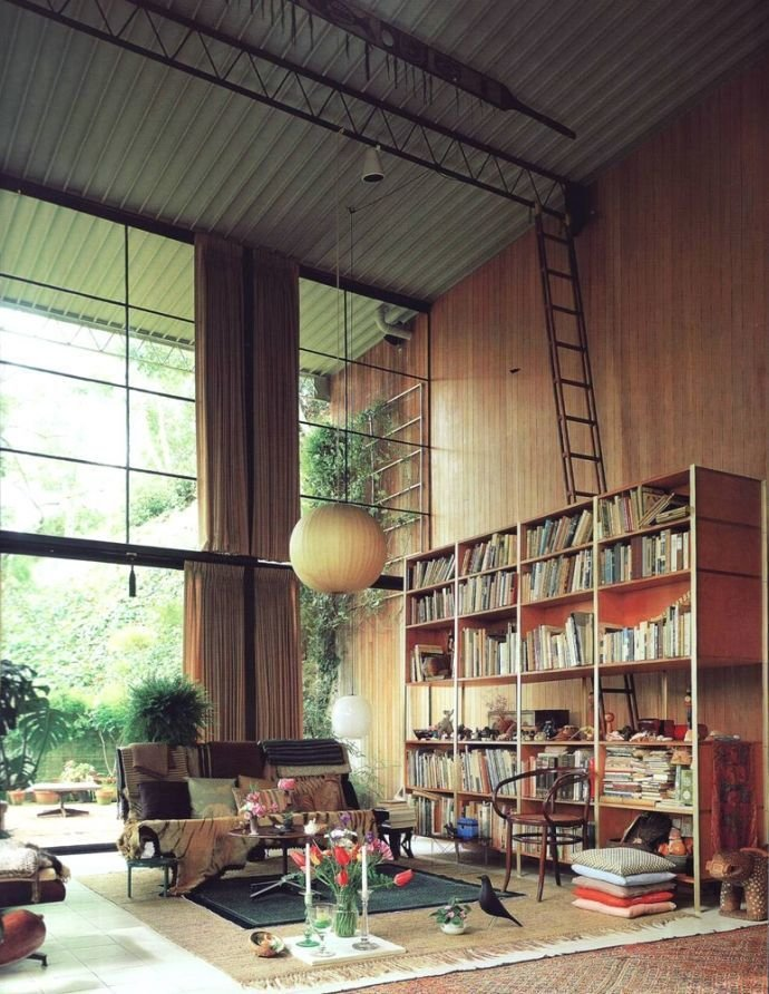 The bird makes an appearance in the Eames living room.  Living Room from Design Classic: Eames House Bird