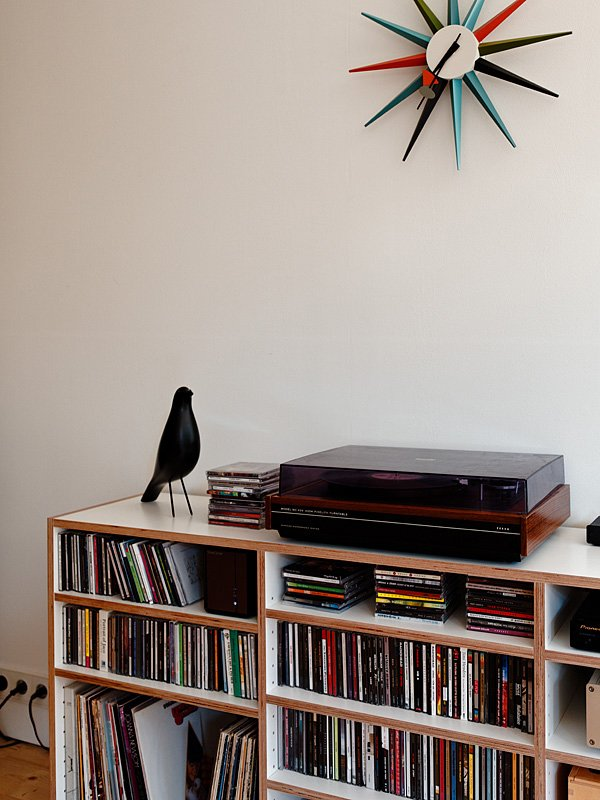 In this Bratislava apartment an Eames bird keeps watch over the record collection.  Photo 4 of 6 in Design Classic: Eames House Bird