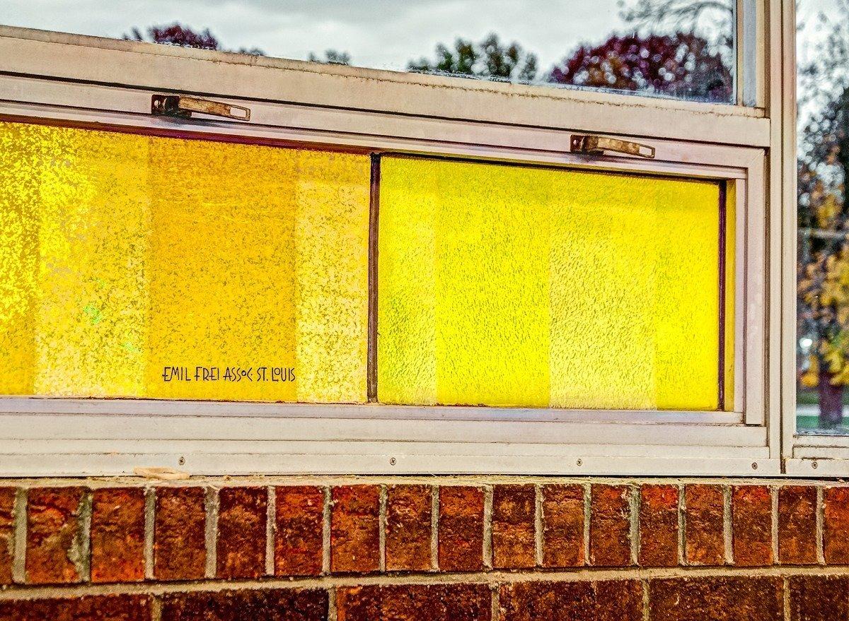 The windows bear the signature of Harmon's firm, Emil Frei & Associates. Photograph copyright 2012 Andrew Raimist, RaimistDesign.com.  Photo 5 of 11 in Near St. Louis, A Midcentury-Modern Public Library Faces Demolition