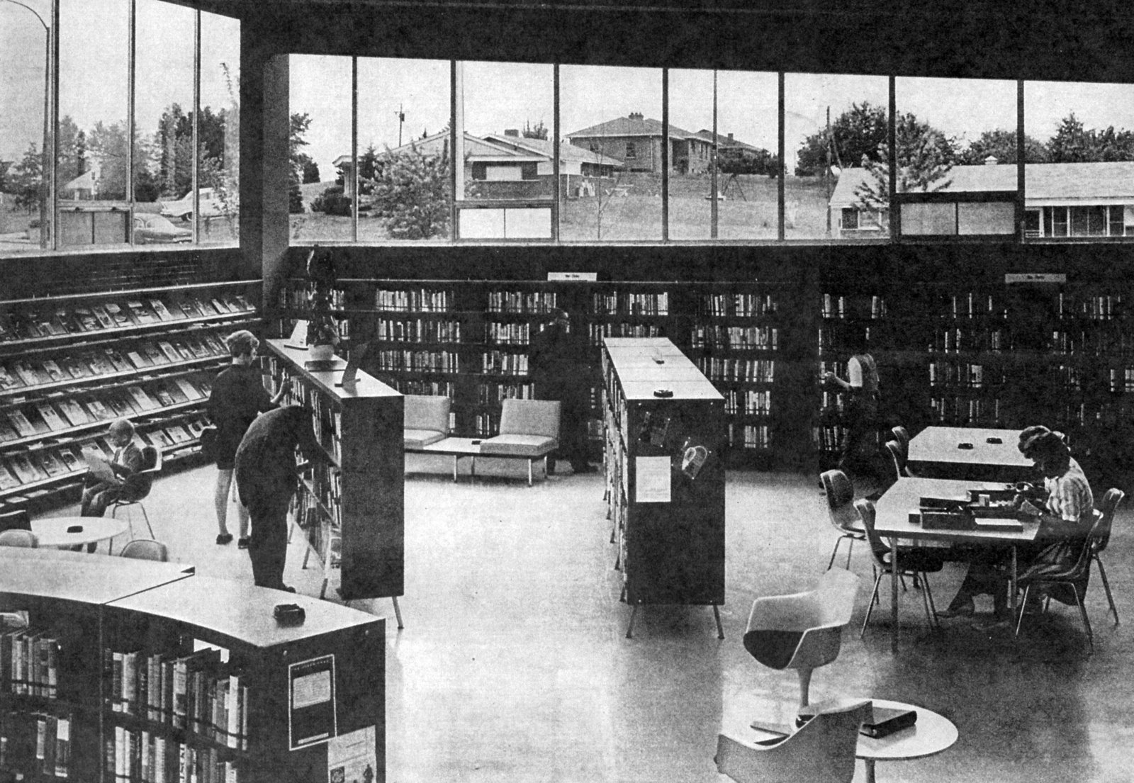 The interior of the library as it appeared in 1963. Photo originally published in the  St. Louis Globe-Democrat, courtesy of Lindsey Derrington.  Photo 3 of 11 in Near St. Louis, A Midcentury-Modern Public Library Faces Demolition