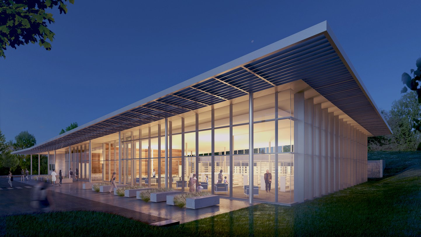 A preliminary rendering of the proposed new library building. Image courtesy of KAI Design & Build.  Photo 9 of 11 in Near St. Louis, A Midcentury-Modern Public Library Faces Demolition