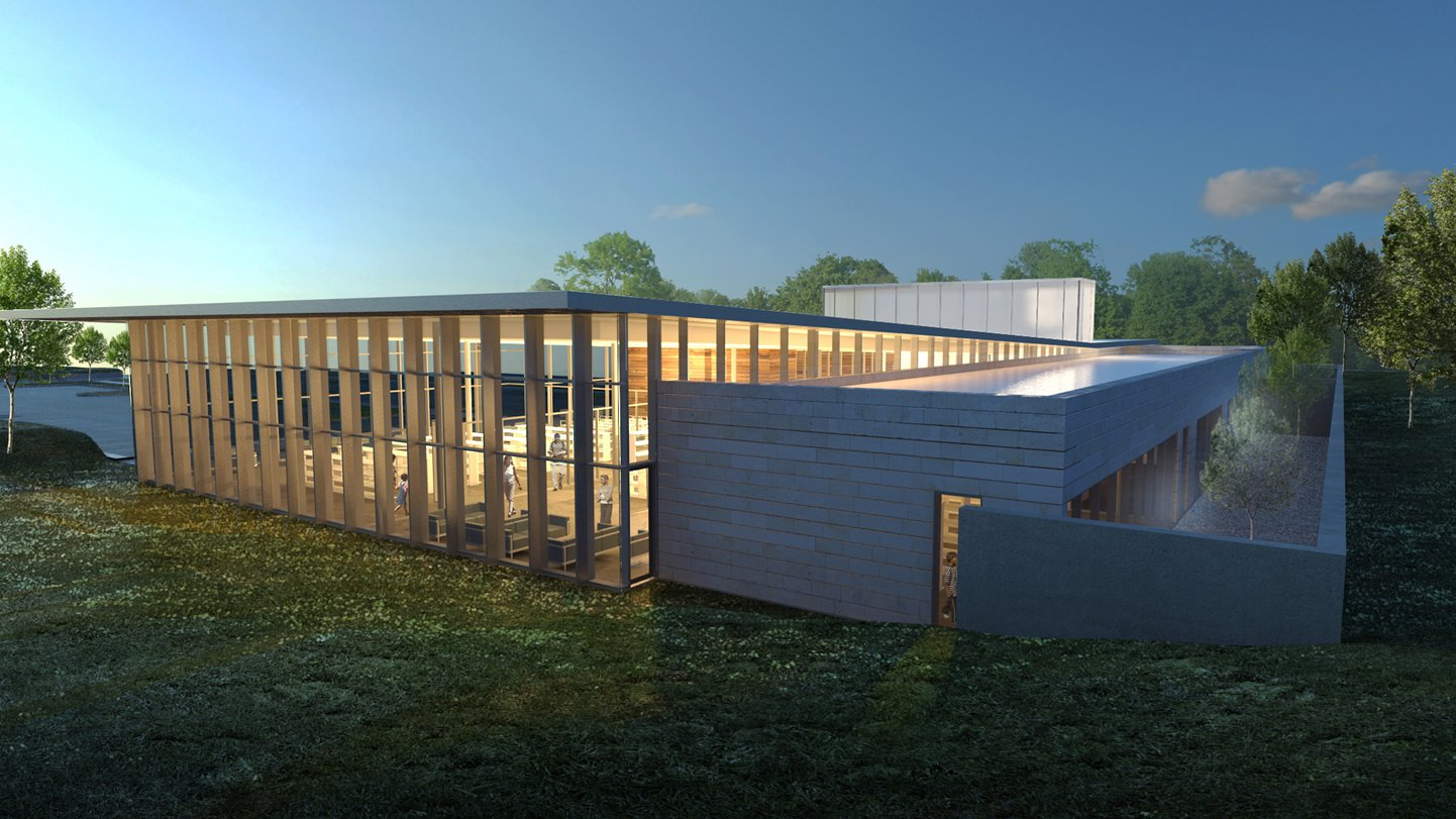 Another preliminary rendering of the proposed new library building. Image courtesy of KAI Design & Build.  Photo 10 of 11 in Near St. Louis, A Midcentury-Modern Public Library Faces Demolition