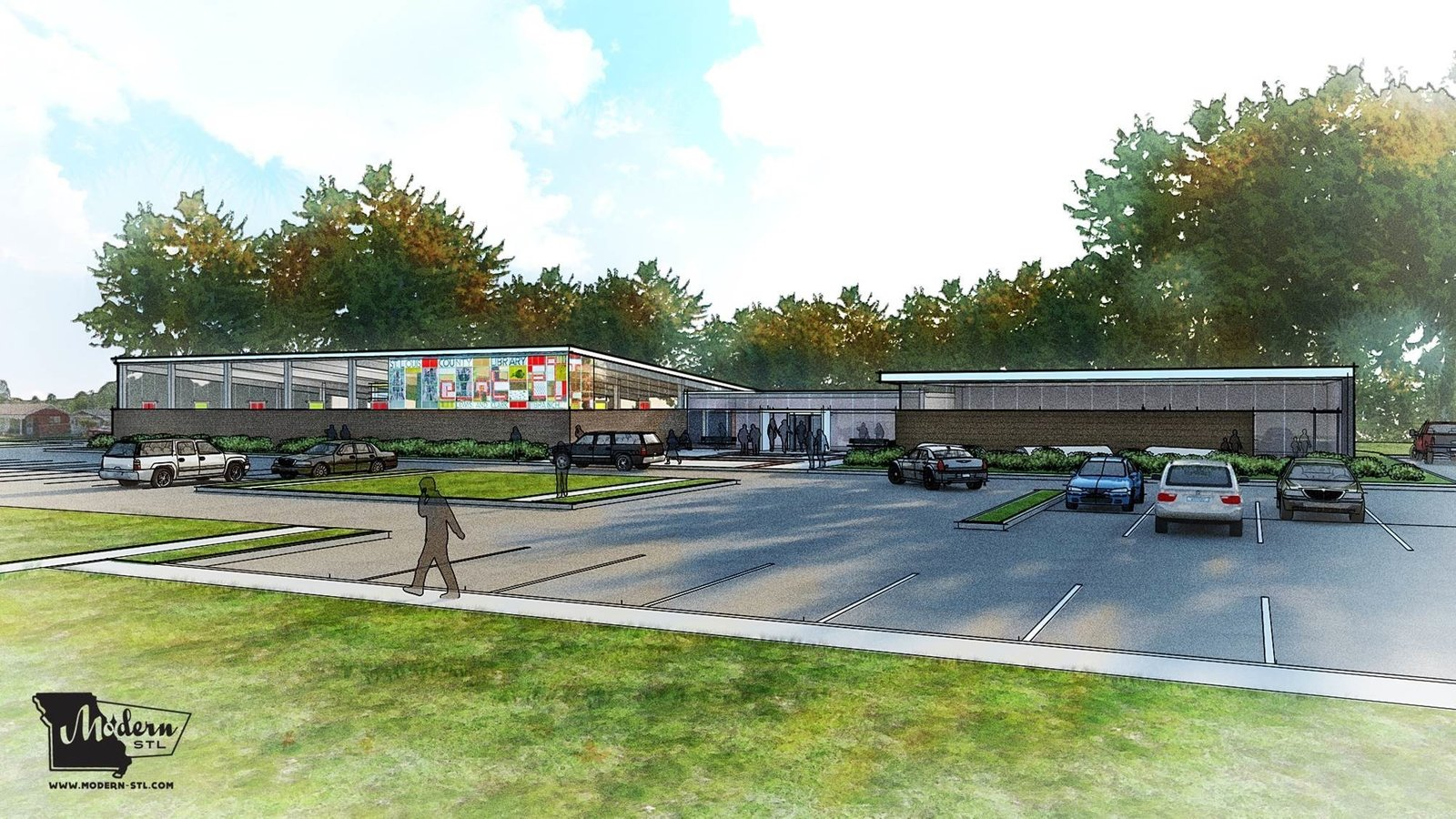 A rendering of a proposed 3,500-square-foot addition that would preserve Dunn's original building. This proposal was designed by Neil Chace of SPACE Architects and Modern STL's board president; Jeremy Clagett of SPACE Architects; and Jon Hagar of Fox Architects. Image courtesy of Modern STL.  Photo 11 of 11 in Near St. Louis, A Midcentury-Modern Public Library Faces Demolition