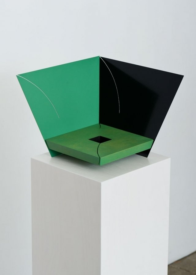 """Matt Paweski's Corner (Jade), 2014. Euro-beech hardwood, steel, copper rivets, enamel, and wax. Image courtesy of the artist and Herald St, London.  Search """"color story green"""" from Artist to Watch: Matt Paweski"""