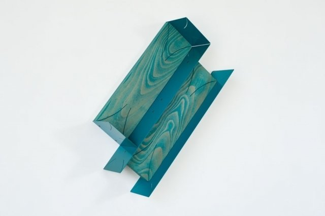 Matt Paweski's Slanted Plaques (Teal), 2014. Euro-Beech hardwood, steel, copper rivets, enamel, and wax. Image courtesy of the artist and Herald St, London.  Photo 5 of 9 in Artist to Watch: Matt Paweski