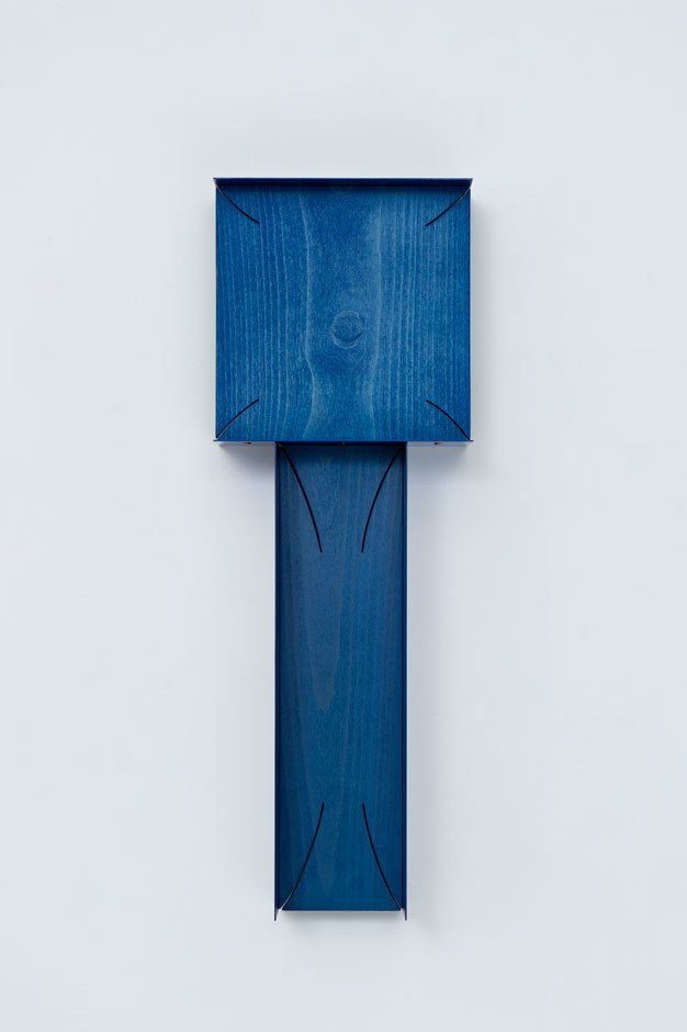 Another of Paweski's painted plywood sculptures. You can also find Paweski's work at Studio Spruzzi, a studio he recently launched with his partner Gillian Garcia producing multifunctional lighting.   Shown here, Stacked Plaques (Navy), 2014; birch plywood, beech hardwood, steel, copper rivets, enamel, and wax. Image courtesy of the artist and Herald St, London.  Photo 8 of 9 in Artist to Watch: Matt Paweski