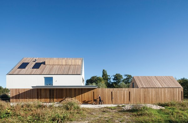 With its vertical wood slats, the garden fence helps unify the main house and the smaller shed.
