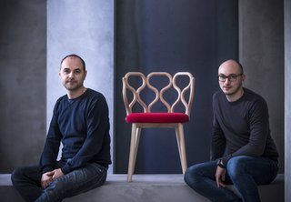 Paolo Lucidi (1974) and Luca Pevere (1977) graduated from the Politecnico di Milano in Industrial Design and worked independently before establishing LucidiPevere Design Studio in 2006. They are currently designing across a range of materials and scales for companies like Gebrüder Tonet Vienna, Very Wood, Living Divani, Ligne Roset, Casamania, DeCastelli, Foscarini, Glass Idromassaggio, Normann Copenhagen, Comforty, and Kristalia.