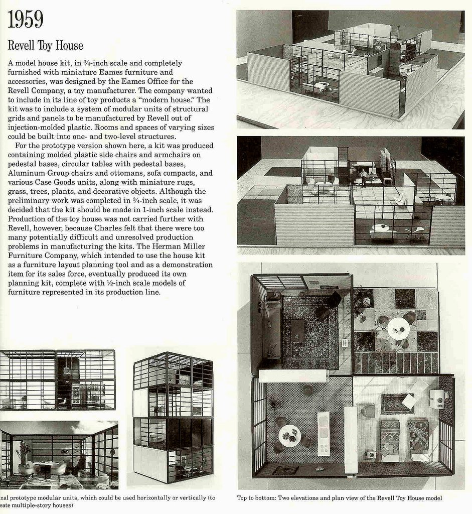 "Revell Toy House  In 1959, Charles and Ray Eames prototyped what might have been the coolest of Mid-Century Modern collectible; a dollhouse done in the modern style of their own home, outfitted with miniature models of Eames' furniture.  Photo credit: The Shopping Sherpa via Creative Commons  Search ""eames-house-blocks.html"" from 10 Things You Didn't Know About Charles and Ray Eames"