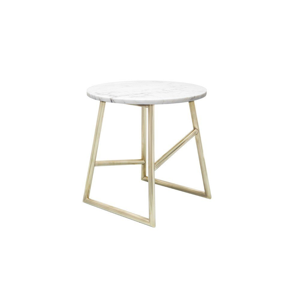 """The Algedi Marble Side Table from Iacoli & McAllister is a versatile furnishing that carefully balances materials to create a striking accent. Comprised of a Carrera Marble tabletop that is fixed atop a powder-coated or plated steel base, the Algedi can be used in a variety of interior spaces, from living rooms and offices to bedrooms and guest rooms.  Search """"arch support"""" from Set in Stone: Furniture and Accessories with Marble Details"""