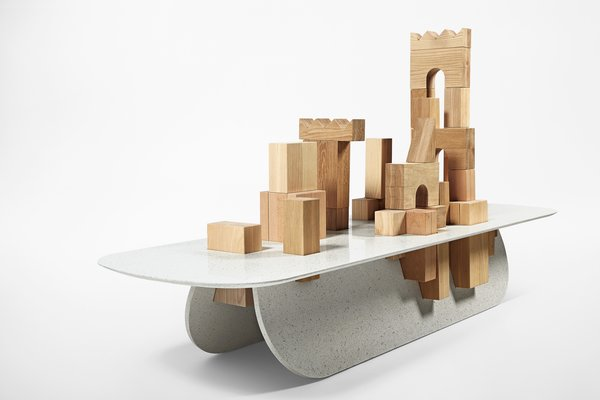 For a more sculptural statement piece, or a place for kids to play, one can stack the unit with wooden building blocks. Photo by Vicky Lam.