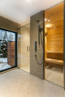 The renovated house is outfitted with a sauna.