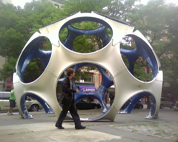 "Fully realized during the last few years of his life, these ""autonomous dwellings"" were the culmination of all his learning and experience, according to Fuller. The ""fly's eye"" holes can be used as doors or outfitted with wind or solar power to create off-the-grid housing. The largest model, a 50-foot-high dome, debuted in LA in 1981 and was out-of-sight for decades before being restored and shown at the Toulouse International Art Festival last year."