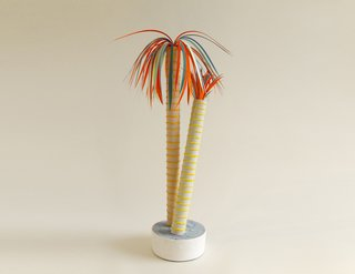 """Paper maiche plant by CHIAOZZA  """"They've gotten kind of famous in the past couple years because they make these adorable triangle mirrors that are really hip,"""" says Singer. """"They also make these paper maiche plants which range from crazy simple to crazy, elaborate."""""""