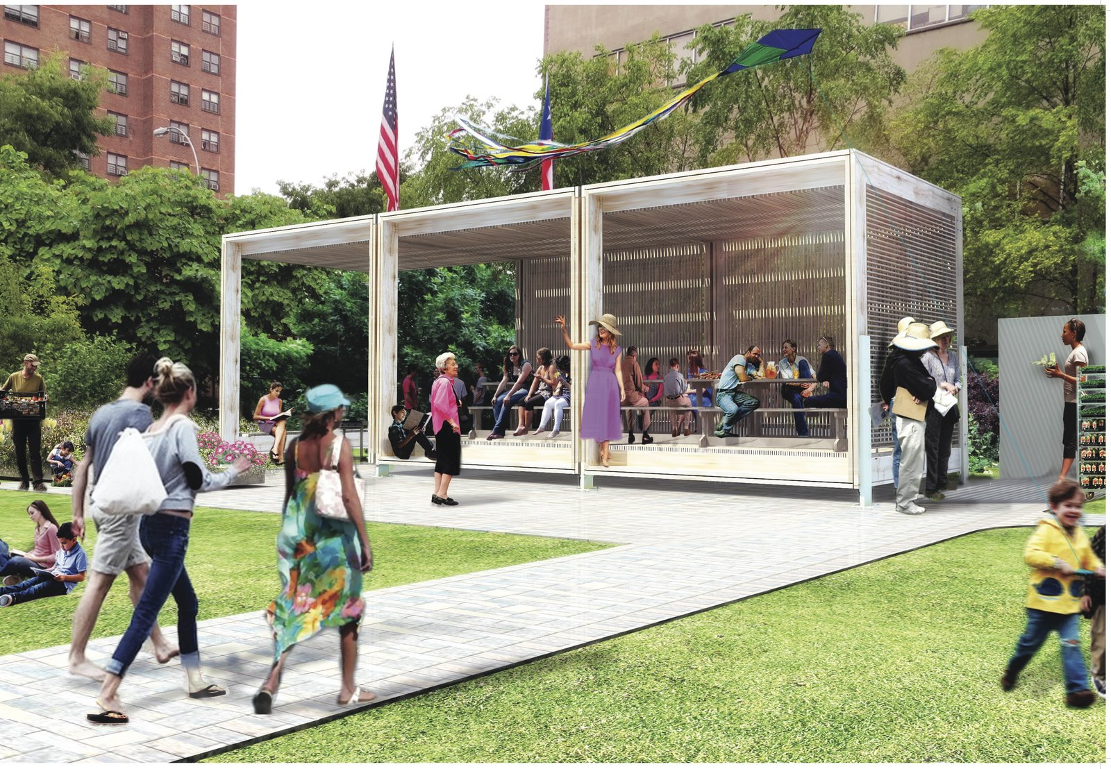 Designed by TEN Arquitectos, this casita will be built in the Willis Avenue Community Garden in the Bronx. The idea is that it will serve as a model to be adapted for community gardens elsewhere in New York City. Rendering courtesy of TEN Arquitectos.  Photo 1 of 1 in A Gathering Spot and Emergency Resource for New York's Community Gardens