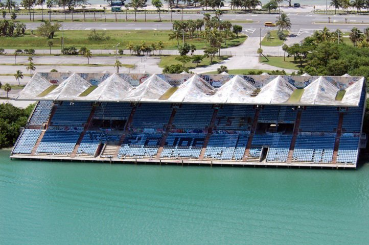 An aerial view of Miami Marine Stadium reveals its current ravaged state. Photo by Rick Bravo.  Preserving the Miami Marine Stadium by Rob Jordan from Preserved Modernist Gems in the U.S.
