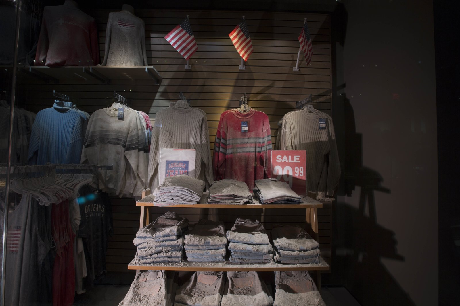 A display from the Chelsea Jeans store near the World Trade Center. Photo by Jin Lee.  Photo 10 of 14 in At Ground Zero Bedrock, the 9/11 Museum Prepares for Visitors