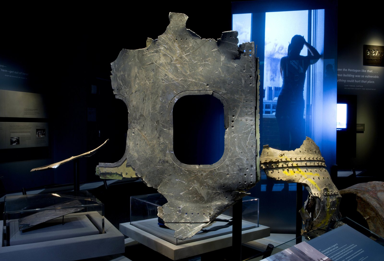 Airplaine wreckage on display in the historical exhibit. Photo by Jin Lee.  Photo 11 of 14 in At Ground Zero Bedrock, the 9/11 Museum Prepares for Visitors
