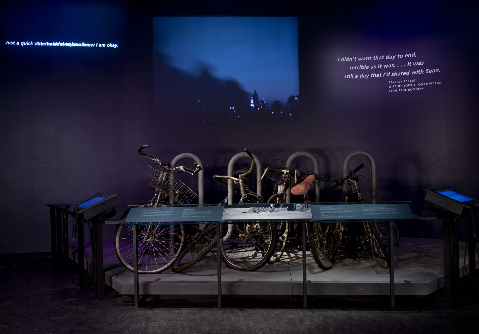 A bicycles tethered to a rack are among the artifacts on display. Photo by Jin Lee.  Photo 12 of 14 in At Ground Zero Bedrock, the 9/11 Museum Prepares for Visitors