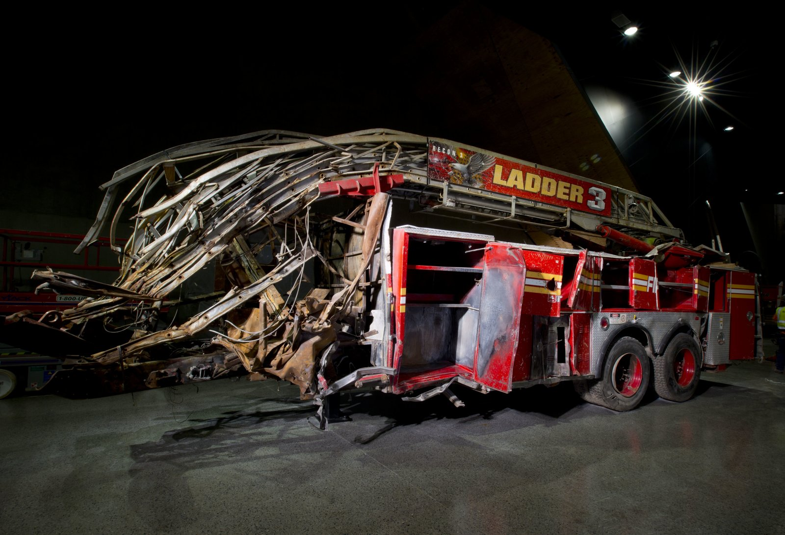 This Ladder Co. 3 truck carried 11 firefighters from a fire house in the East Village to the Trade Center on 9/11. All of them perished in the North Tower. Photo by Jin Lee.  Photo 13 of 14 in At Ground Zero Bedrock, the 9/11 Museum Prepares for Visitors