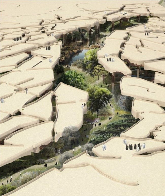 Heatherwick Studios designed this Abu Dhabi park to work with the challenging desert environment. Proposed structural features, such as a cracked canopy that mimics the landscape's natural reaction to the blistering heat, are meant to provide shade and reduces evaporation. Image courtesy Heatherwick Studios.  Photo 1 of 3 in A Desert Blooms: A Middle Eastern Park Plan Breaks the Mold