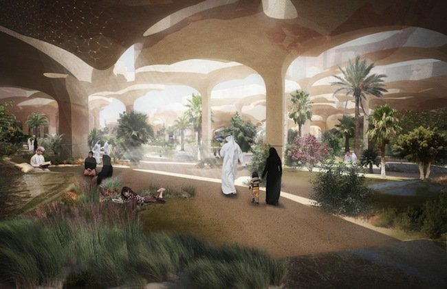 The proposal, set for completion in 2017, calls for a main area sunk below the surface and covered with an irregular grid of 20-meter high canopy pieces that mimic the surrounding landscape. Image courtesy Heatherwick Studios.  Photo 2 of 3 in A Desert Blooms: A Middle Eastern Park Plan Breaks the Mold