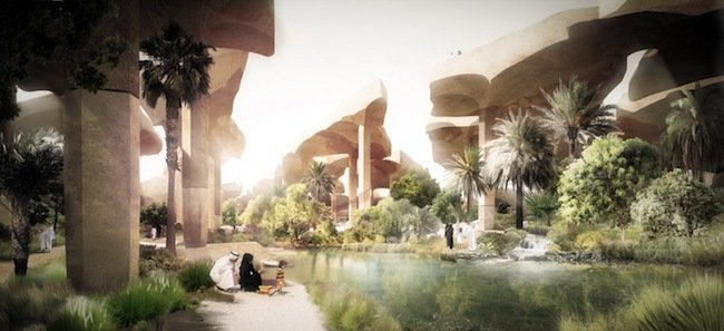 "As Heatherwick said in an official statement, ""Instead of denying the presence of the desert that the city is built on, we set ourselves the task of making a park out of the desert itself."" Image courtesy Heatherwick Studios.  Photo 3 of 3 in A Desert Blooms: A Middle Eastern Park Plan Breaks the Mold"